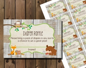 Woodland Shower Diaper Raffle Ticket - Printable : Instant Download _59