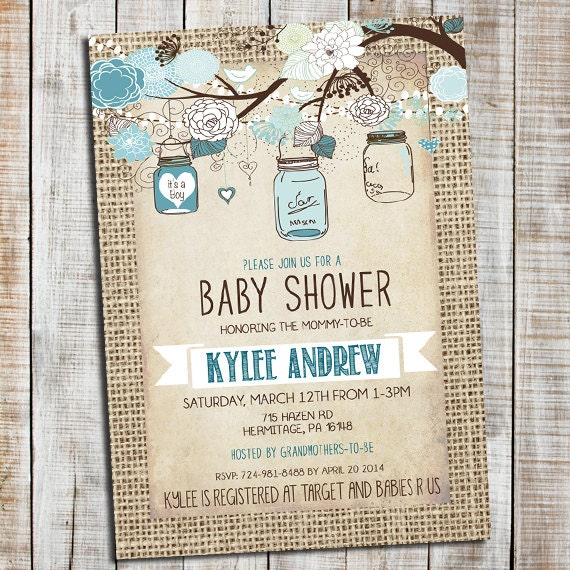 burlap rustic baby boy shower invitation mason jar shabby