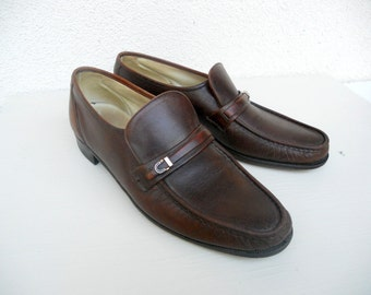 Vintage Men's Brown Leather Florsheim Loafer Dress Shoes 11 A FREE SHIPPING