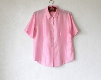 Vintage Pink Silk Blouse  Women's Short Sleeve Shirt Medium Size