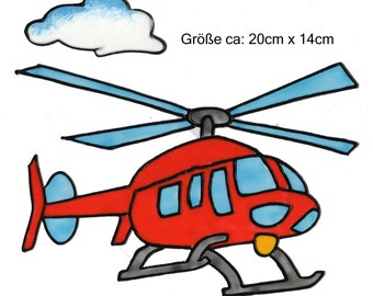 Hand-painted window color window image WiCo removable helicopter red for kids (017a)