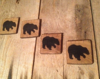 Vintage reclaimed barnwood BEAR coasters (set of 4)