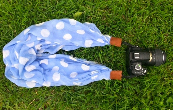 blue polka dot scarf camera strap - for Nikon, Canon, and other DSLR