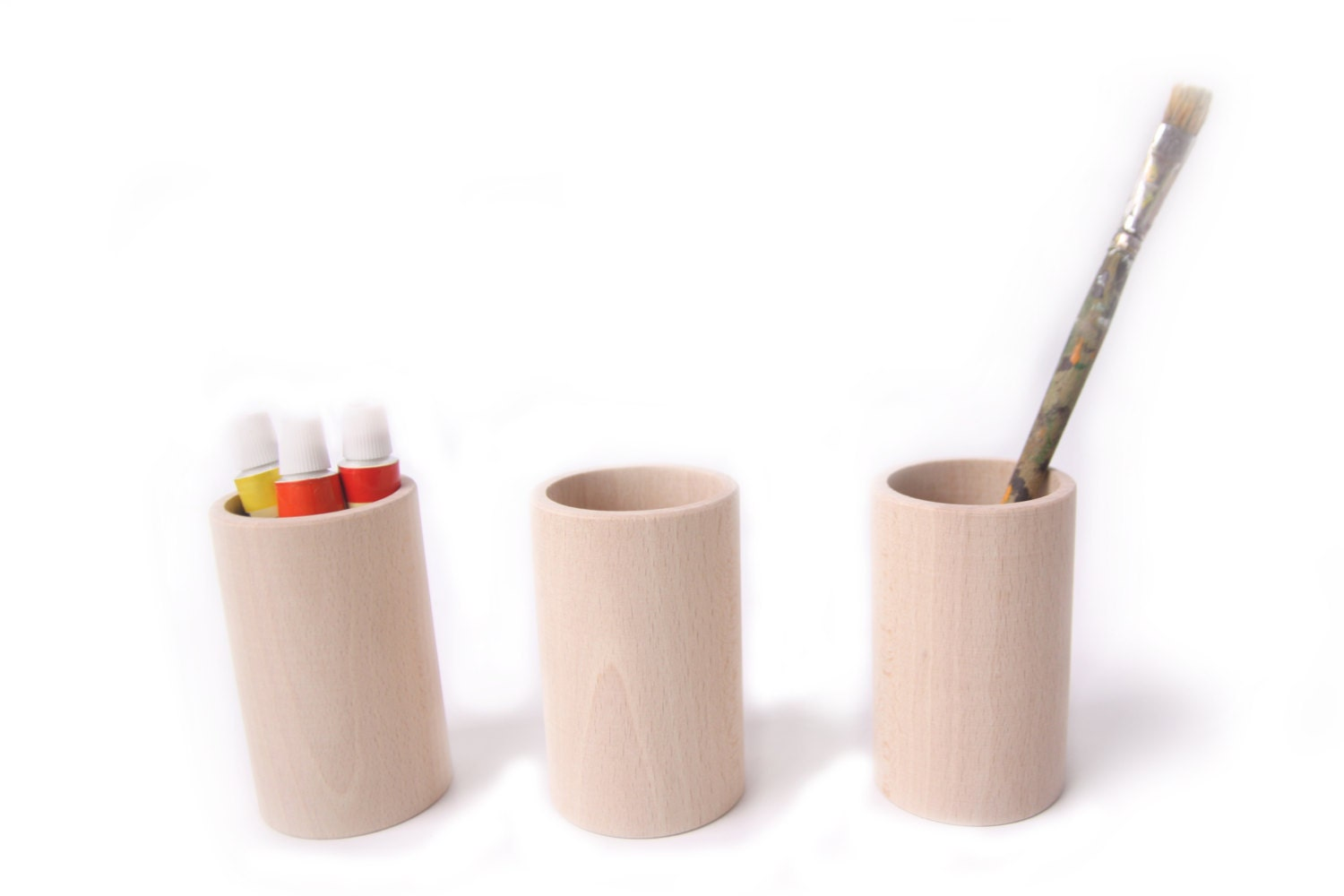 set of 3 wooden cupsdesk organizer pencil holder pen holder