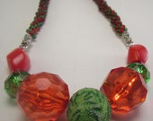 Chunky Red and Green Crystal Kumihimo Necklace-Large Bead Symetrical Necklace-Red Crystal Necklace