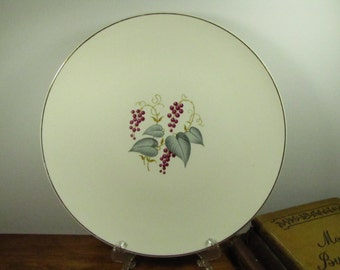 Small Vintage Plate with Leaf and Berry Pattern