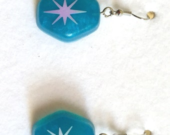 Blue Opalescent Atomic Starburst Earrings