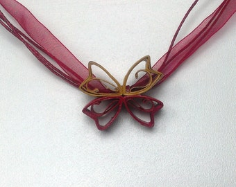 Colourful Bow, Quilled pendant, Red and Yellow, Summer ready