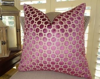 Geometric Magenta Velvet Pillow Cover - Magenta Tan Geometric Velvet Throw Pillow - Magenta Pillow - Designer Throw Pillow - 11367
