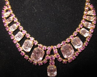 FREE SHIPPING - Vintage Amethyst and Rhinestone Necklace