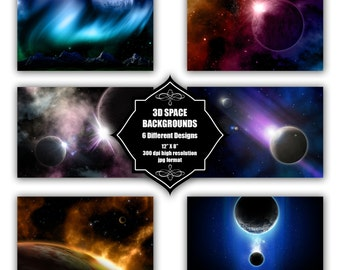 INSTANT DOWNLOAD - Collection of digital 3D space backgrounds with 6 different designs