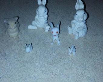 Six Vintage Bunny Figures