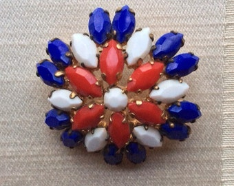 Red, White and Blue Glass Retro Brooch