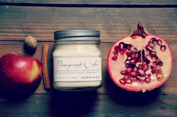 Pomegranate Cider Mason Jar Soy Candle Autumn by MasonandWax