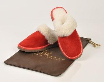 Slippers for women. Fur slippers. Sheepskin slippers. Wool slippers. Red slippers. Winter slippers. Warm slippers. Slippers for gift.