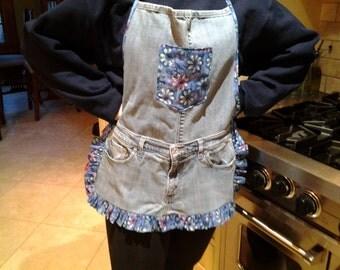 handmade denim apron