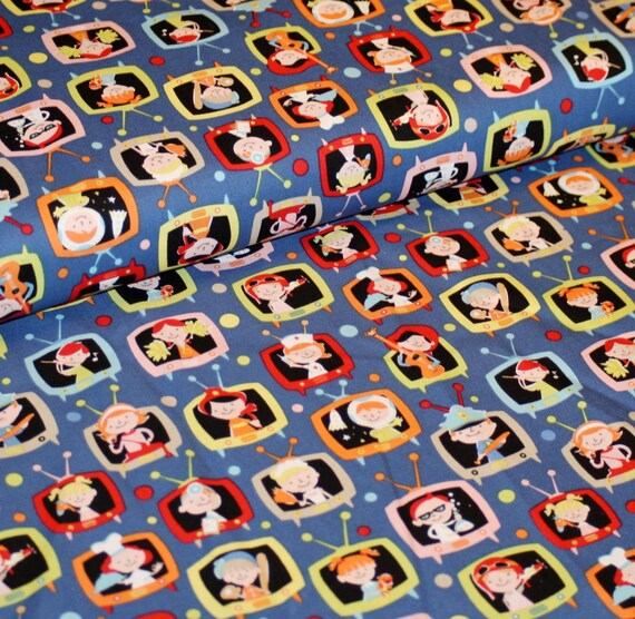 Sale 30 off retro kids premium cotton fabric by michael for Retro kids fabric