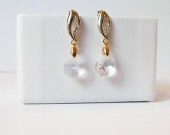 crystal drop earrings gold, swarovski crystal earrings wedding, teardrop earrings,  Mother of the Bride Gift, Gift for Her, Gift for wife