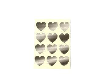 Small Pinstripe Heart Stickers