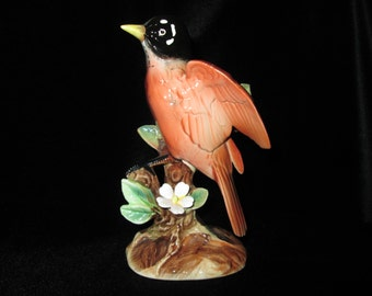 Vintage Porcelain Robin Figurine Sitting in a Tree with a Dogwood