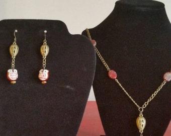 Aleni The Owl jewelry set/brass/ceramic/owl/ match set/renaissance/victorian/antique/vintage