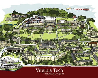 Virginia Tech Print - Campus Illustration - 11x17 - FREE SHIPPING