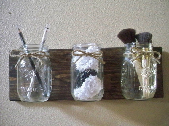 Wall Decor With Mason Jars : Primitive bathroom decor mason jar wall by lisamarieds
