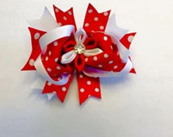Girls Red and White Polka Dot Stacked Bow