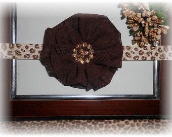 Leopard Print elastic with handmade brown flower headband