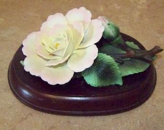 Porcelain Rose Flower Figure on Wooden Base