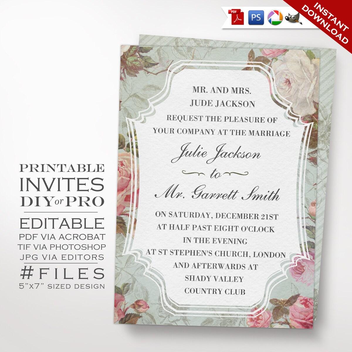 Wedding Invitation Template Vintage Rose Wedding Invitation