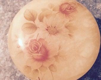 Vintage Flowered Alabaster Trinket Box