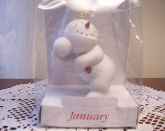 January Birthstone Snowman Christmas Ornament