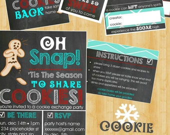 Cookie Exchange Invite - Cookie Exchange Party Kit - DIY Printable Files