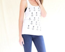 organic, cotton, racerback, singlet, skull, anchor, rockabilly, whimsical, top, white, tunic, vest