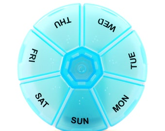 Blue 7 Day Plastic Pill Case Insert for Gloria's Pill Cases Zip-A-Round Travel Pill Case