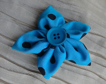 brooch - fabric flower brooch with button detail - available in other colours/prints