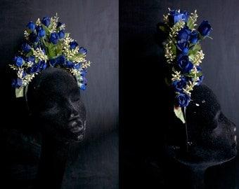 Blue and Cream Flowers Headdress