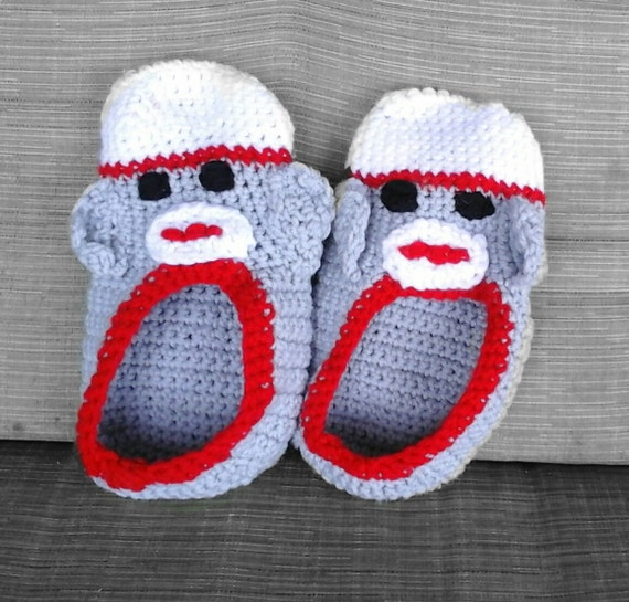 Free Crochet Pattern Sock Monkey Slippers : Sock Monkey Slippers-Comfortable Footwear-Slippers for the
