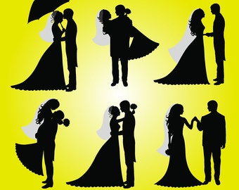 Wedding Digital Clipart Bride and Groom Silhouettes PNG Clip Art Heatr Love Scrapbooking Invitations Printable Graphic INSTANT DOWNLOAD