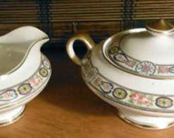 Sugar Bowl with Lid and Creamer by Knowles Taylor and Knowles China K.T.and K 1920's
