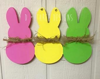 Colorful Easter Peeps, Bunny Rabbit Door Hanger, Easter Monogram, Easter Wreath, Easter Decor, Wooden Monogram