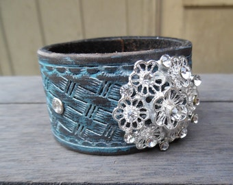Silver Turquoise Brown Sparkly Rhinestone Floral Pendant Upcycled Leather Cuff Bracelet