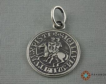 Knights Templar Seal Pendant Sterling Silver 000-117