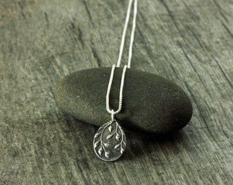 Silver Pendant Necklace Falling Leaves  As seen Chicago Fire Seasons 3 and 4