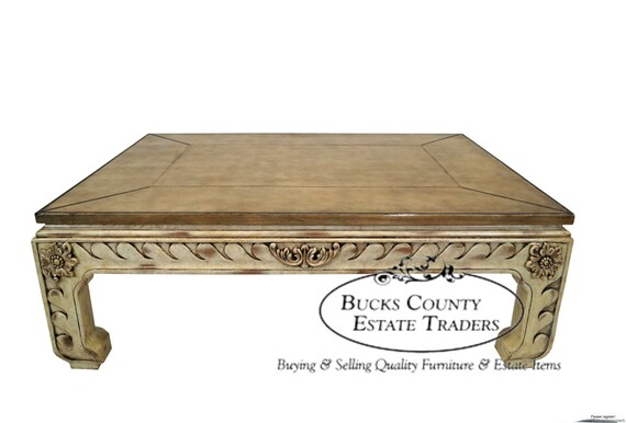 Maitland Smith Leather Top Painted Base Coffee Table