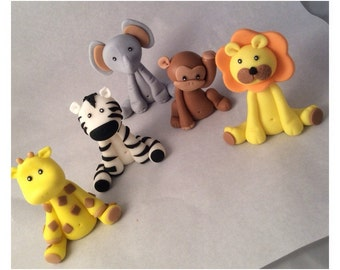 Fondant Jungle Animal Toppers: Monkey Giraffe Elefant Lion Zebra
