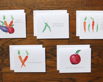 Veggie Pun Stationery Set - set of 15 folded cards + envelopes