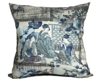 Asian Japanese Scenic Landscape Oriental Chinoiserie Cotton Print Decorative Throw Pillow Cover Case Home Decor Accent Invisible Zipper