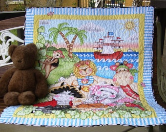 """Cute """"Jungle Pirates Bazooples"""" Reversible 36""""x44"""" Baby Crib Nursery Bedding Toddler Blanket Stippling Quilted Napping Blanket Great Gift"""